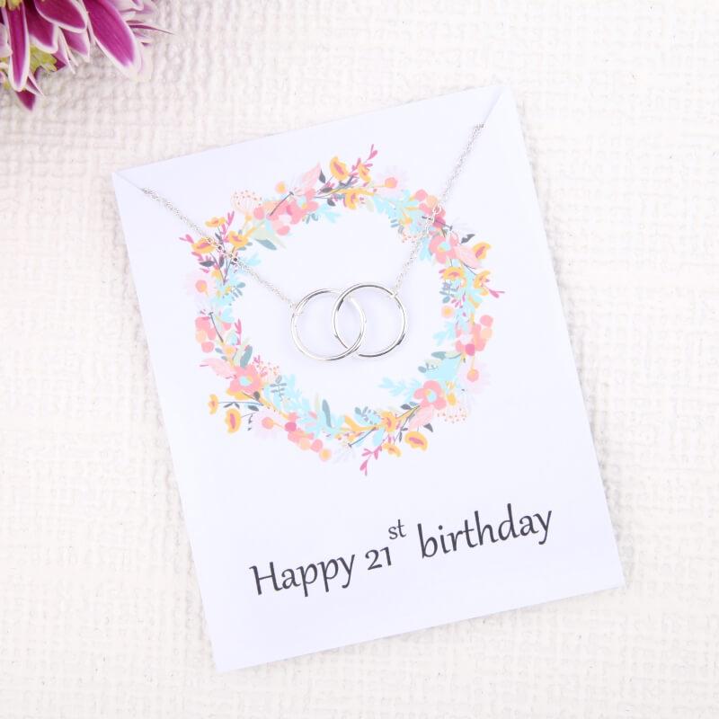 21st Birthday Flower Card Necklace