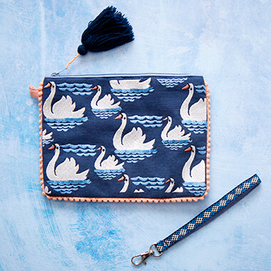 Embroided Swan Pouch
