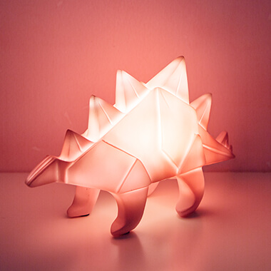 Origami Stegosaurus Table Lamp Pink