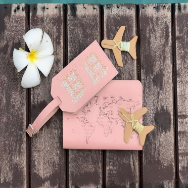 Stitch Your Own Luggage Tag Pink