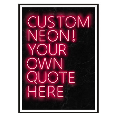 Custom Quote Neon Sign Print - Black Marble And Red