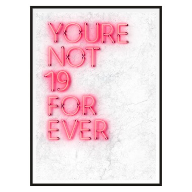 Custom Quote Neon Sign Print - White Marble And Pink