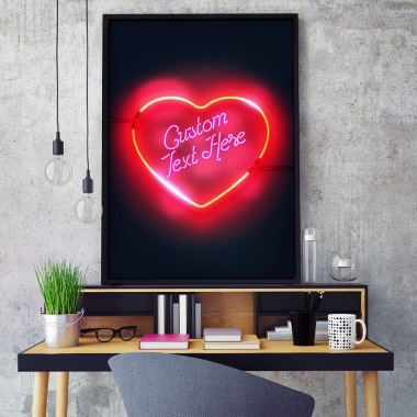 Custom Script Neon Sign Print - Love Heart