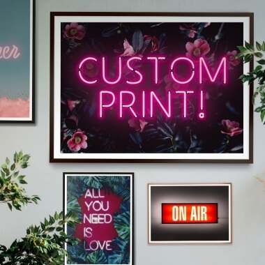 Custom Script Neon Sign Print - Floral And Pink