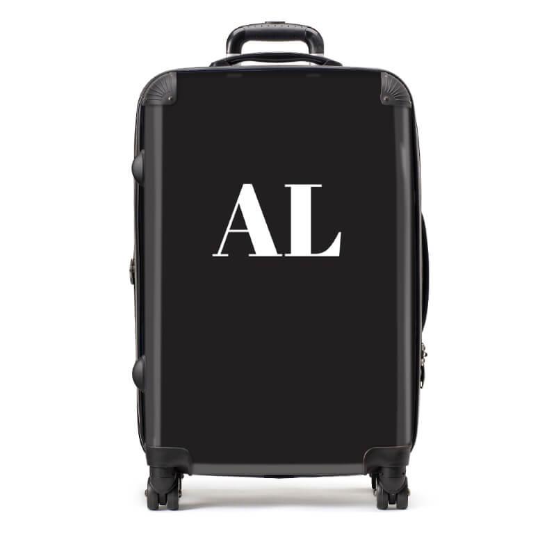 Personalised Medium Black Suitcase with White Initials