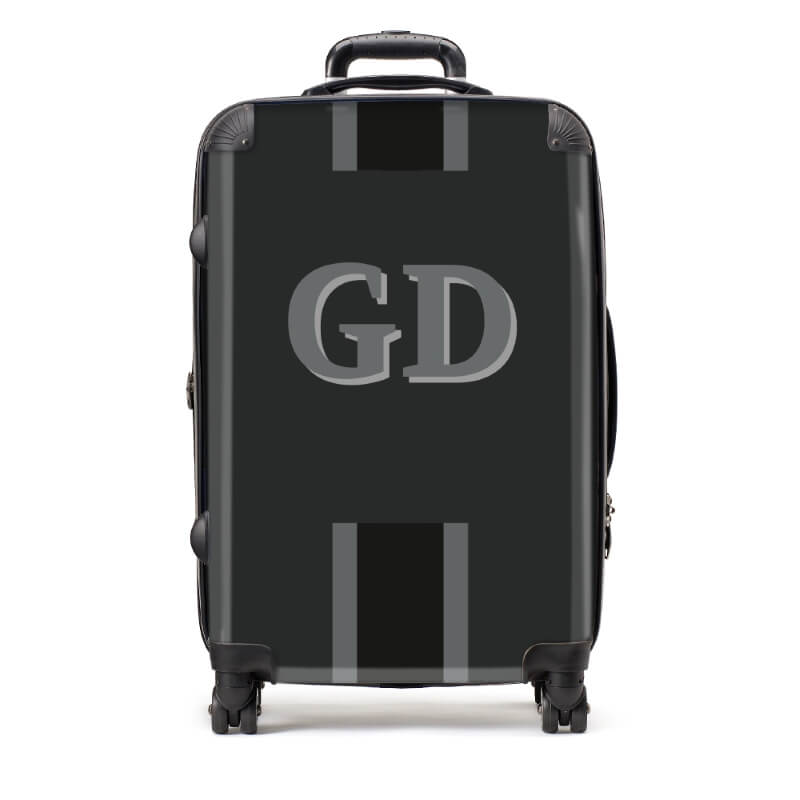 Personalised Medium Black Initials Stripe Detail Suitcase