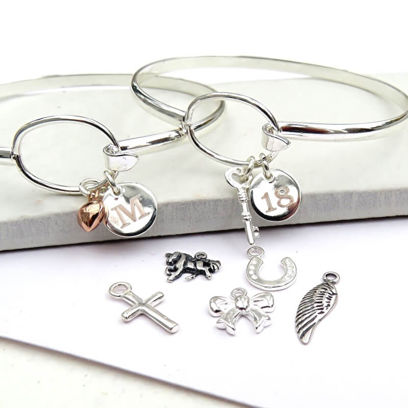 Personalised Silver Plated Loop Bangle