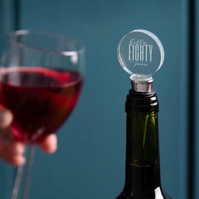 Personalised Hello Eighty Birthday Bottle Stopper