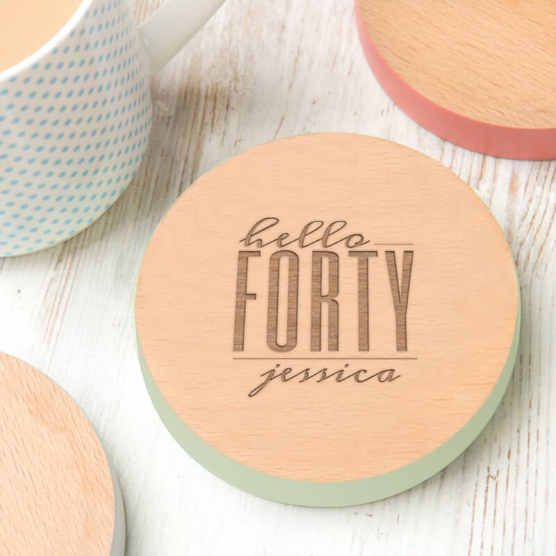 Personalised Hello Forty Birthday Coloured Coaster
