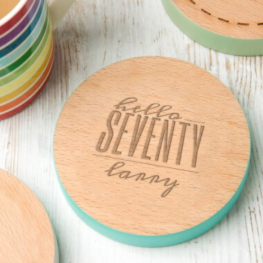 Personalised Hello Seventy Birthday Coloured Coaster