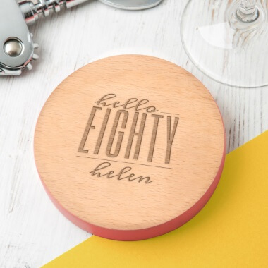 Personalised Hello Eighty Birthday Coloured Coaster