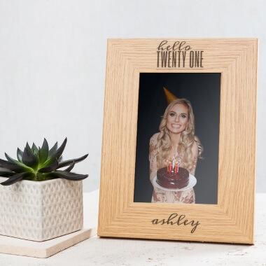 Personalised Hello Twenty One Birthday Wooden Photo Frame