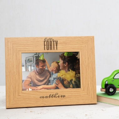 Personalised Hello Forty Birthday Wooden Frame