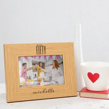 Personalised Hello Fifty Birthday Wooden Photo Frame