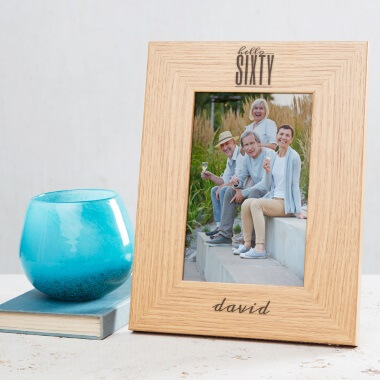Personalised Hello Sixty Birthday Wooden Photo Frame