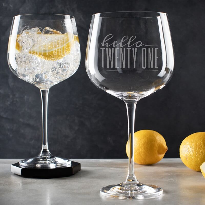 Personalised Hello Twenty One Birthday Gin Goblet