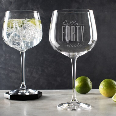 Personalised Hello Forty Birthday Gin Goblet