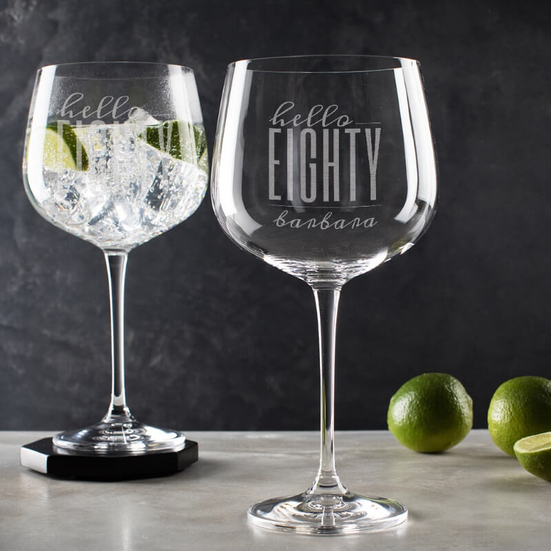 Personalised Hello Eighty Birthday Gin Goblet
