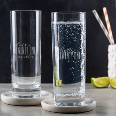 Personalised Hello Twenty One Birthday Highball Glass