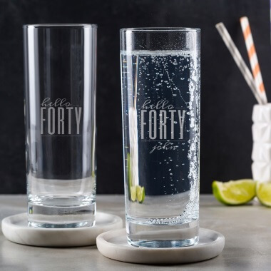 Personalised Hello Forty Birthday Highball Glass