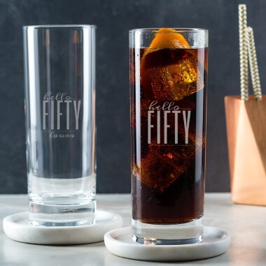 Personalised Hello Fifty Birthday Highball Glass