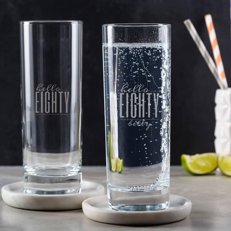 Personalised Hello Eighty Birthday Highball Glass