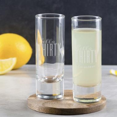 Personalised Hello Thirty Birthday Shot Glass