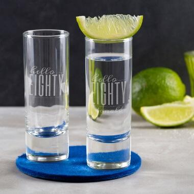 Personalised Hello Eighty Birthday Shot Glass