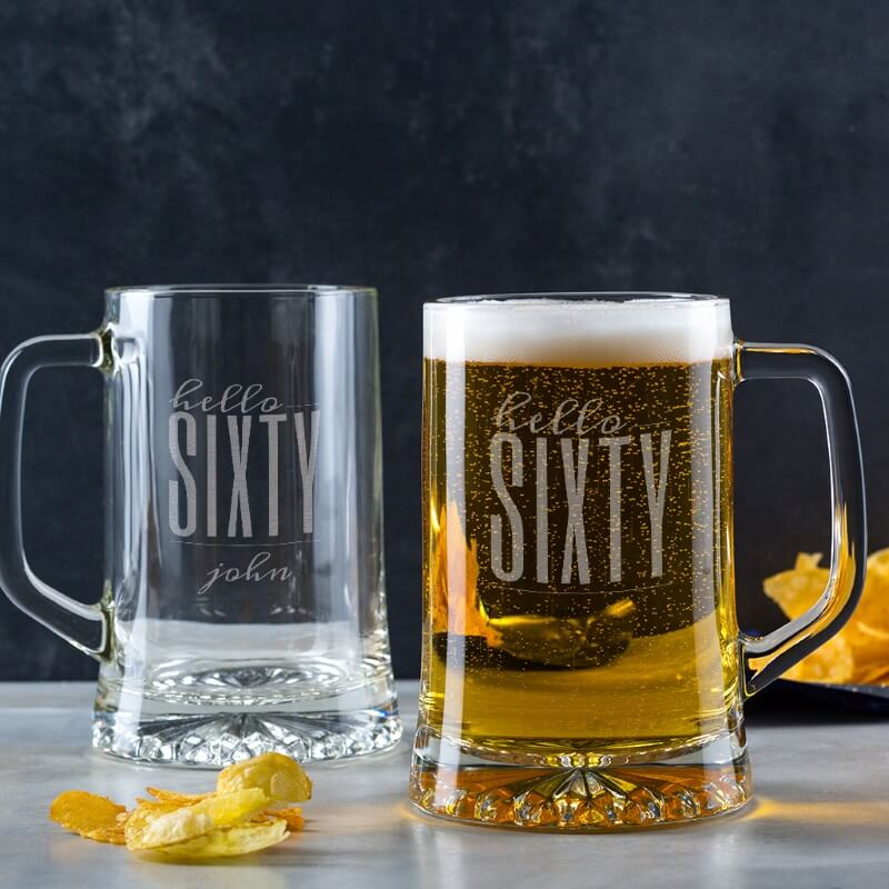 Personalised Hello Sixty Birthday Glass Tankard
