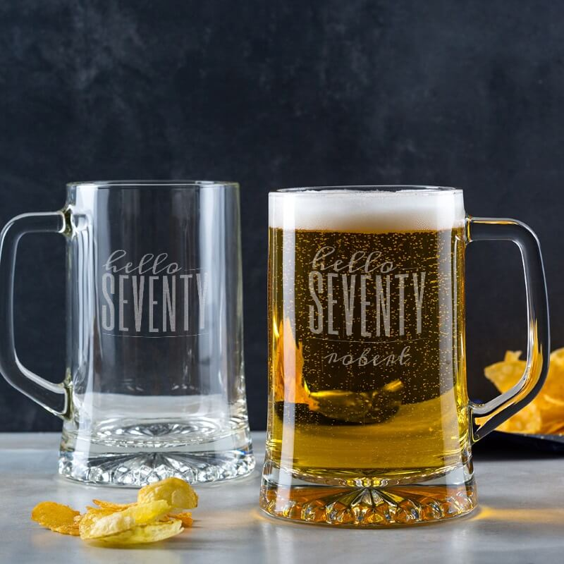 Personalised Hello Seventy Birthday Glass Tankard