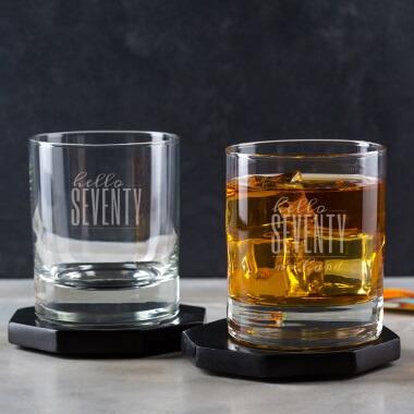 Personalised Hello Seventy Birthday Whisky Tumbler