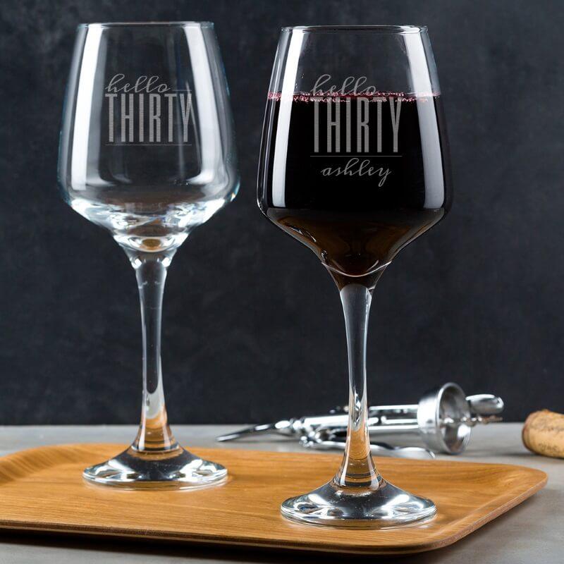 Personalised Hello Thirty Birthday Wine Glass