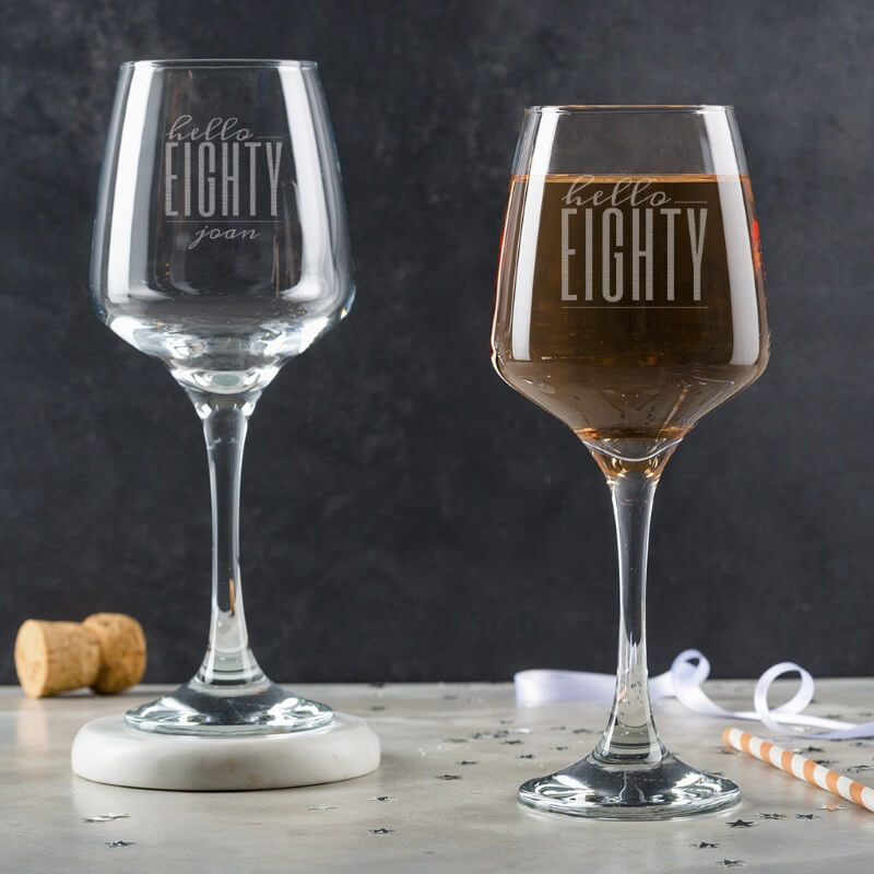 Personalised Hello Eighty Birthday Wine Glass