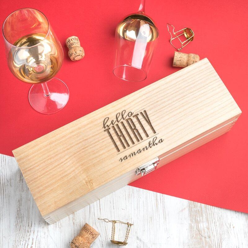 Personalised Hello Thirty Birthday Wine Box