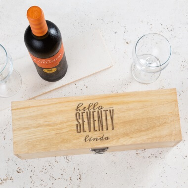 Personalised Hello Seventy Birthday Wine Box