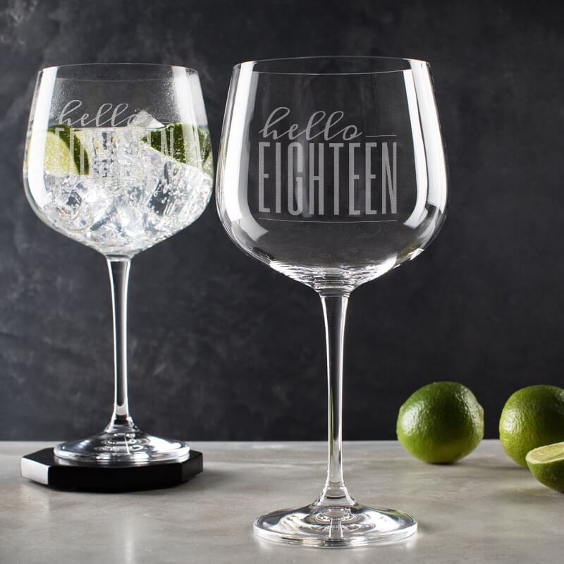 Personalised Hello Eighteen Birthday Gin Goblet