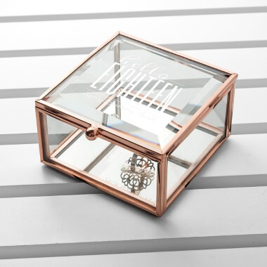 Personalised Hello Eighteen Birthday Square Rose Gold Glass Trinket Box