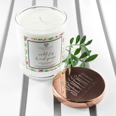 Personalised Hello Seventy Birthday Candle With Copper Lid