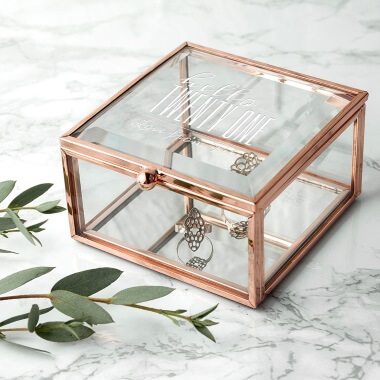 Personalised Hello Twenty One Birthday Square Rose Gold Glass Trinket Box
