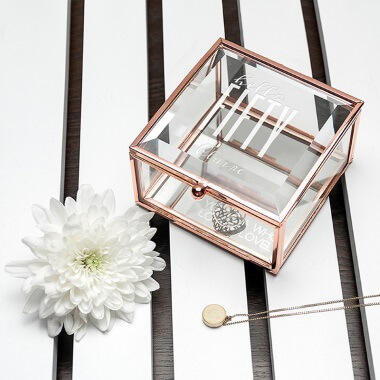Personalised Hello Fifty Birthday Square Rose Gold Glass Trinket Box
