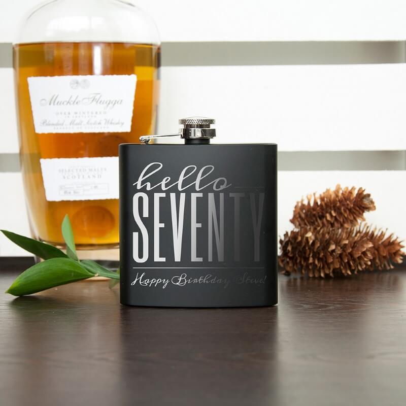 Personalised Hello Seventy Birthday Black Hip Flask