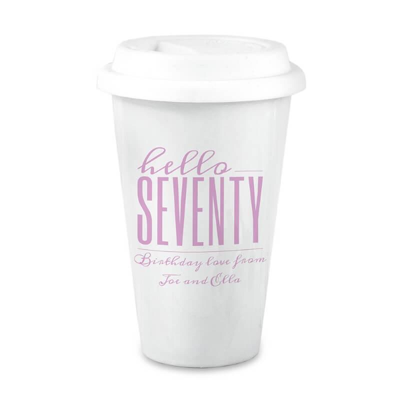 Personalised Hello Seventy Birthday Travel Mug