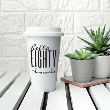 Personalised Hello Eighty Birthday Travel Mug