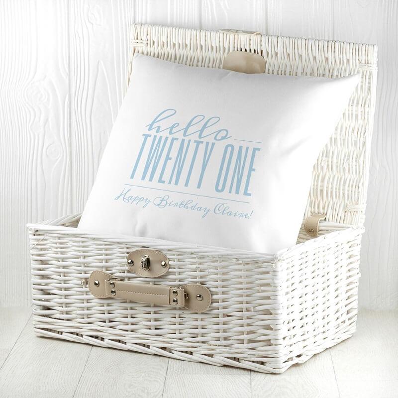 Personalised Hello Twenty One Birthday Cushion Cover