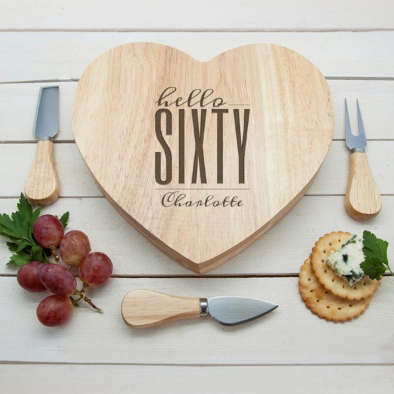 Personalised Hello Sixty Birthday Heart Cheese Board