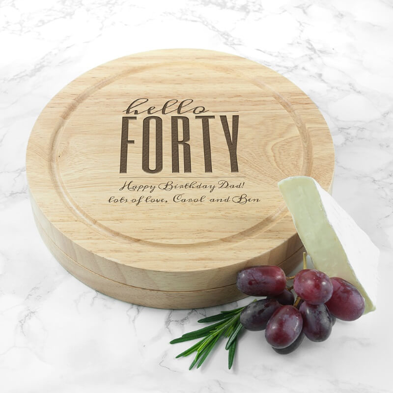 Personalised Hello Forty Birthday Round Cheese Board