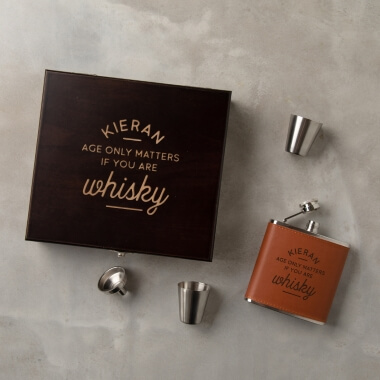 Personalised Age Only Matters Hip Flask Gift Set