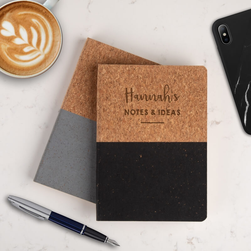 Personalised Name Cork Vegan Notebook