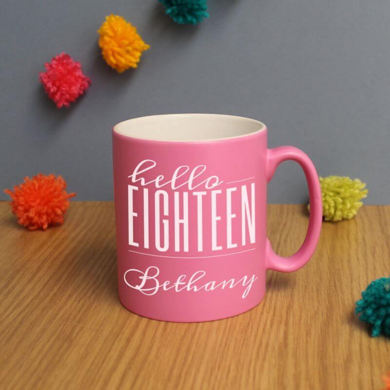 Personalised Hello Eighteen Birthday Satin Mug