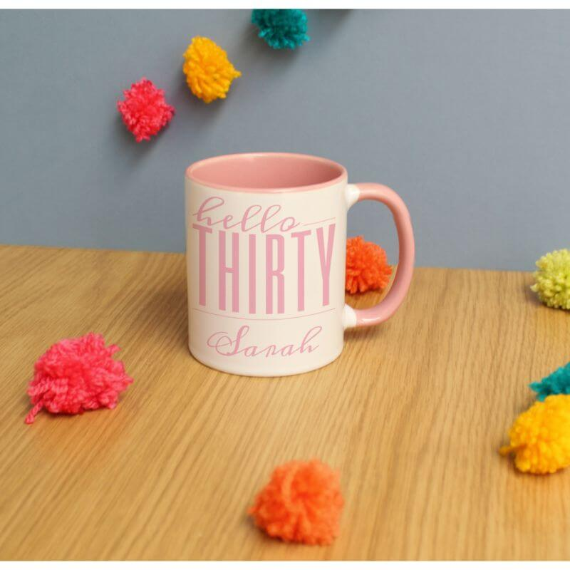 Personalised Hello Thirty Inside Mug